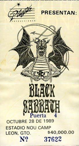 Boleto Black Sabbath 1989