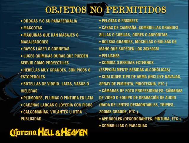 Corona Hell and Heaven 2018 - Objetos NO permitidos