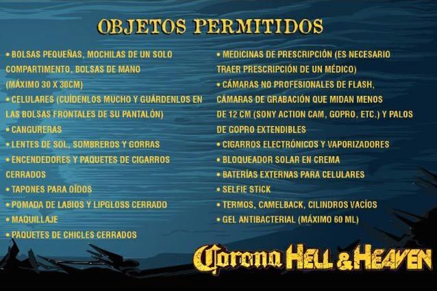 Corona Hell and Heaven 2018 - Objetos permitidos